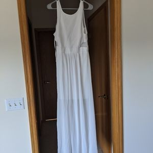 White maxi dress with mesh sides